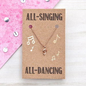 All Singing All Dancing Music Rose Gold Necklace