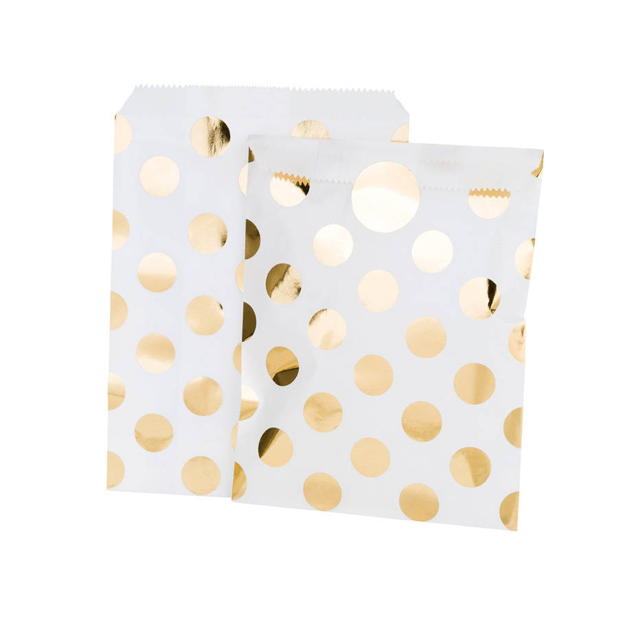 Gold Foil Spotty Treat Bags And Stickers