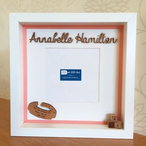Personalised Baby Birth Date Box Frame - picture frames for children