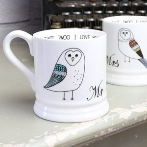 Mr And Mrs Owl Mug - summer sale
