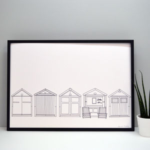 Row Of Beach Huts Print