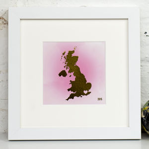 Personalised Gold Foil Heart Location Mounted Art Print - wedding gifts