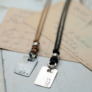Personalised Corded Dog Tag Necklace - men's jewellery