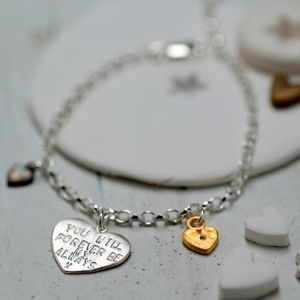 Personalise Heartfelt Charm Bracelet - gold & diamonds