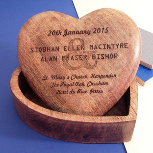 Personalised Wedding Keepsake Wood Heart Box - keepsakes