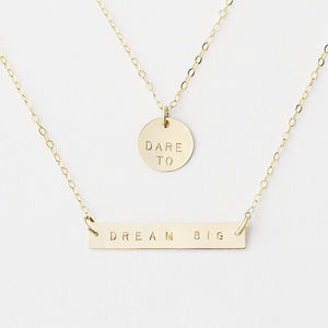 Personalised Bar And Disc Necklace Set - slogan fashion