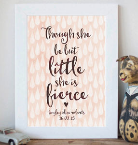 Personalised 'Little And Fierce' Inspirational Print