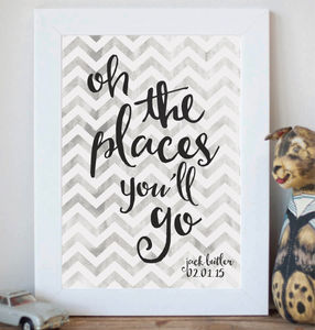 Personalised 'Oh The Places You'll Go' Print - children's pictures & paintings