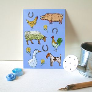 Farmyard Animals Postcard