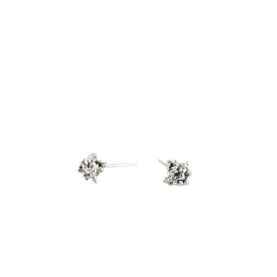 Little Stud Earrings In 9k White Gold