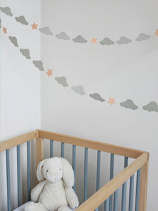 Handmade Cloud And Star Garland - children's room