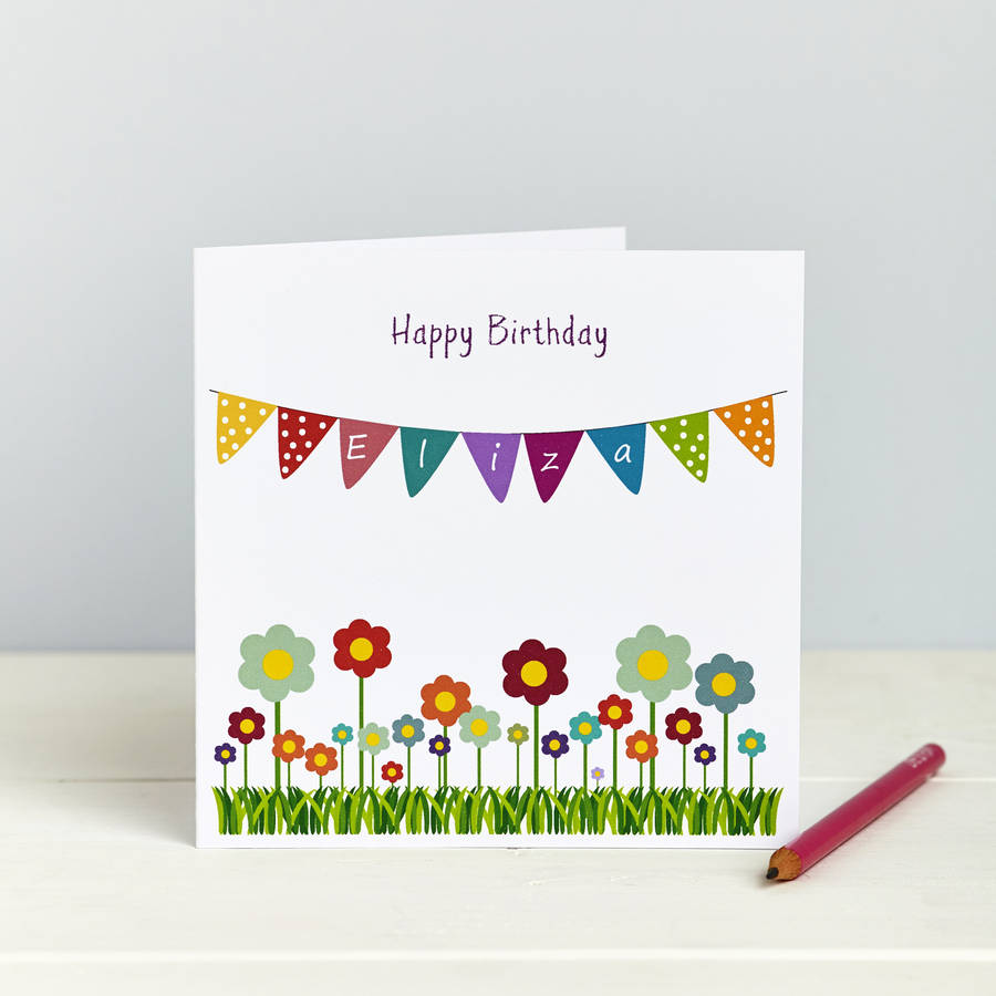 Bunting And Flowers: Personalised Card