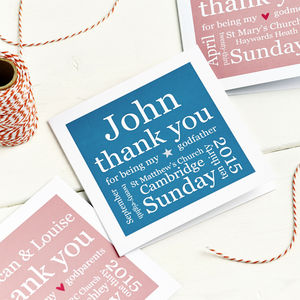 Godparent Details Thank You Card