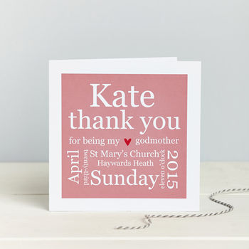 Godparent Details Thank You Card By Spotty N Stripy