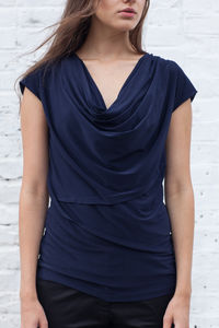 Navy Slinky Zoe Draped Top - tops & t-shirts