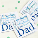 My Dad/Daddy Personalised Typographic Card
