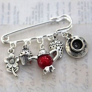 Strawberry Tea Brooch - pins & brooches