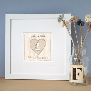 Personalised Wedding Anniversary Picture, Framed