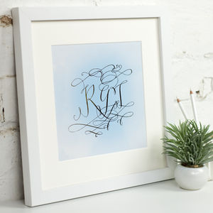 Personalised Metallic Monogram Mounted Art Print - children's pictures & paintings