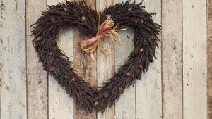 Handmade Lavender And Rosebud Twig Heart Wreath