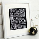 Personalised Destination Mounted Art Print