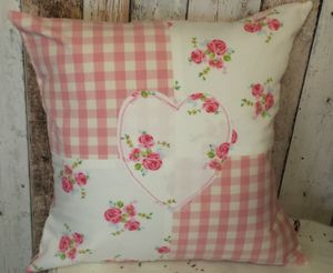Handmade Patchwork Heart Cushion - bedroom