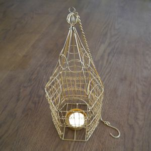 Brass Birdcage Hanging Tealight Holder - occasional supplies