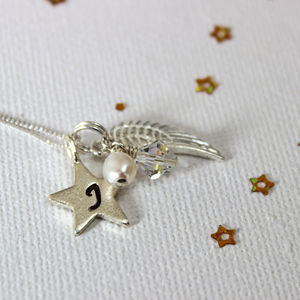 Personalised Angel Wing And Star Charm Necklace - necklaces
