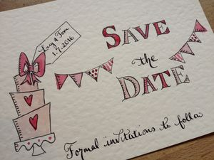 10 Hand Illustrated Save The Date Cards - wedding stationery