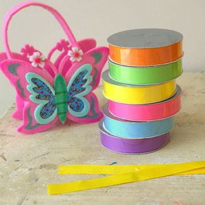 Set Of Six Colourful Grosgrain Ribbons - easter decorations