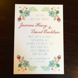 Personalised Floral Vintage Wedding Invitation - invitations