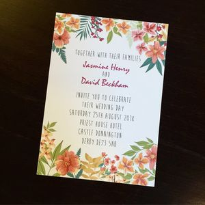 Personalised Floral Jungle Wedding Invitation - wedding stationery