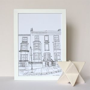 Personalised House Portrait Line Drawings - living room