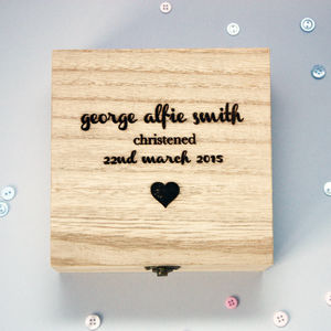 Personalised Christening Wooden Box - boxes, trunks & crates