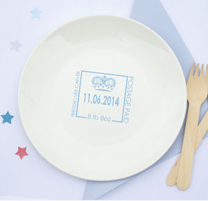 Boys Personalised New Baby Ceramic Plate
