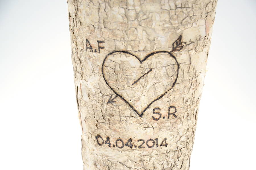 Personalised Rustic Birch Wood Vase By The Letteroom