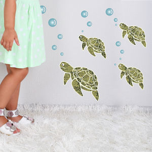 Sea Turtle Fabric Wall Stickers - baby's room