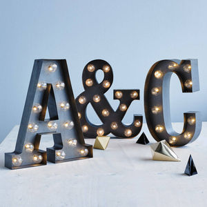 Couple's Initials Carnival Lights Silver Finish