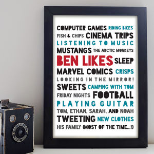 Likes Print - gifts for him