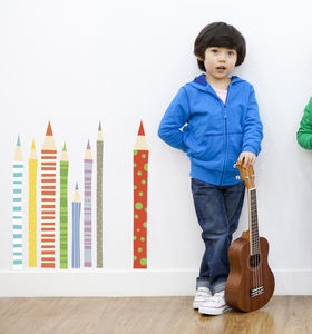 Coloured Pencils Fabric Wall Stickers - children's room