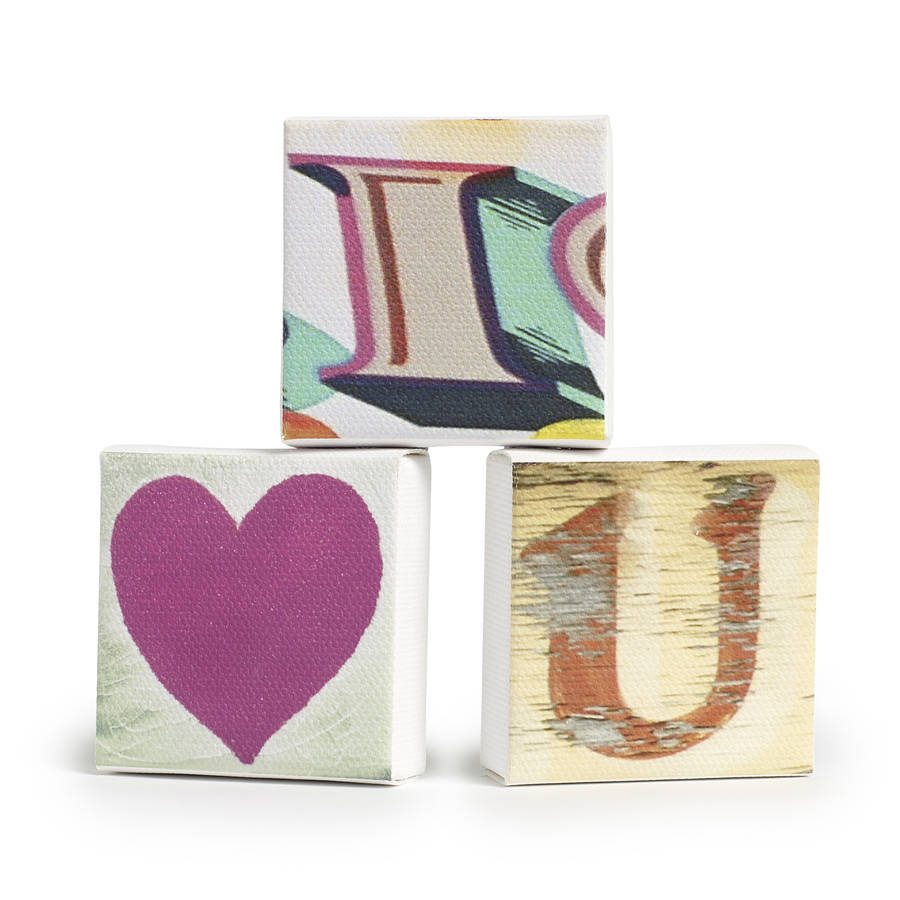 Set of three 39 i love you 39 mini canvases by all things for Things to do with mini canvases