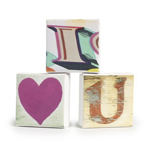 Set Of Three 'I Love You' Mini Canvases