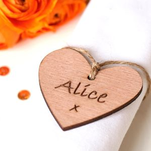 Set Of 10 In Your Own Words Wooden Heart Wedding Favour