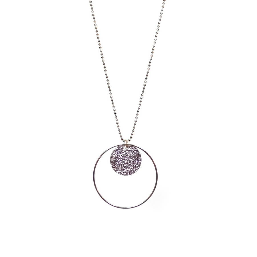 Long Stardust Drop Necklace Silver