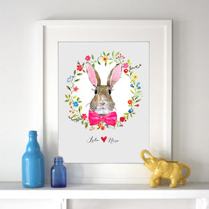 Personalised Child's Bunny Rabbit Print - children's pictures & paintings