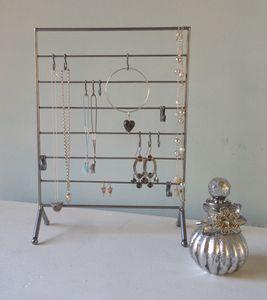 Metal Jewellery Rack With Sliding Hooks Silver