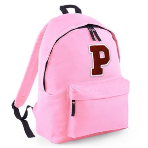 Personalised Chenille Letter Backpack Soft Pink