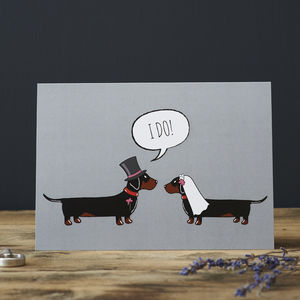 Dachshund Wedding / Engagement Card - engagement cards