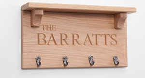 Personalised Oak Coat Rack - hooks, pegs & clips