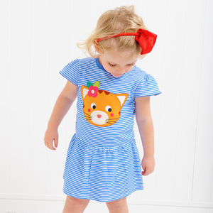 Tallulah The Tabby Cat Appliqué Dress - clothing